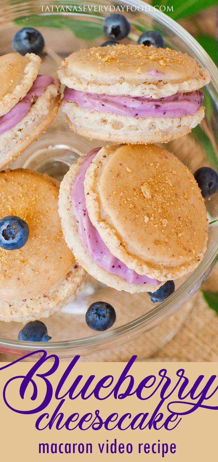 Blueberry Cheesecake Macarons with blueberry frosting