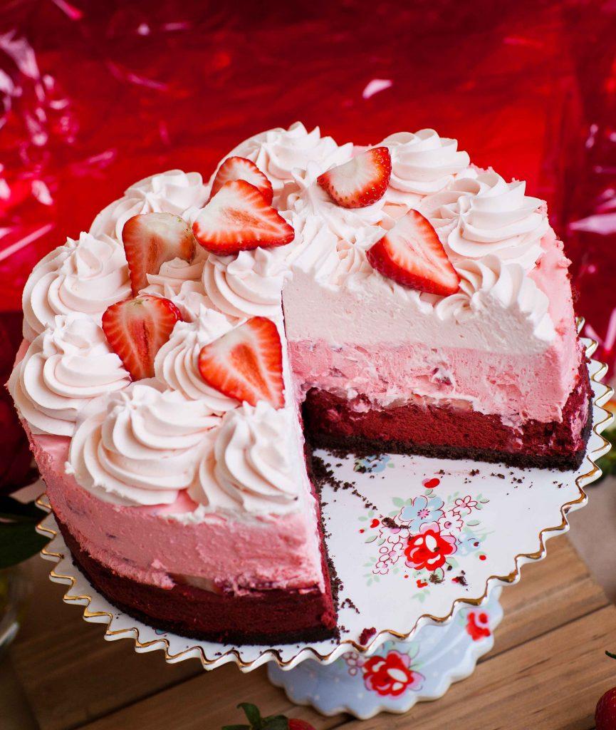 red velvet strawberry cheesecake