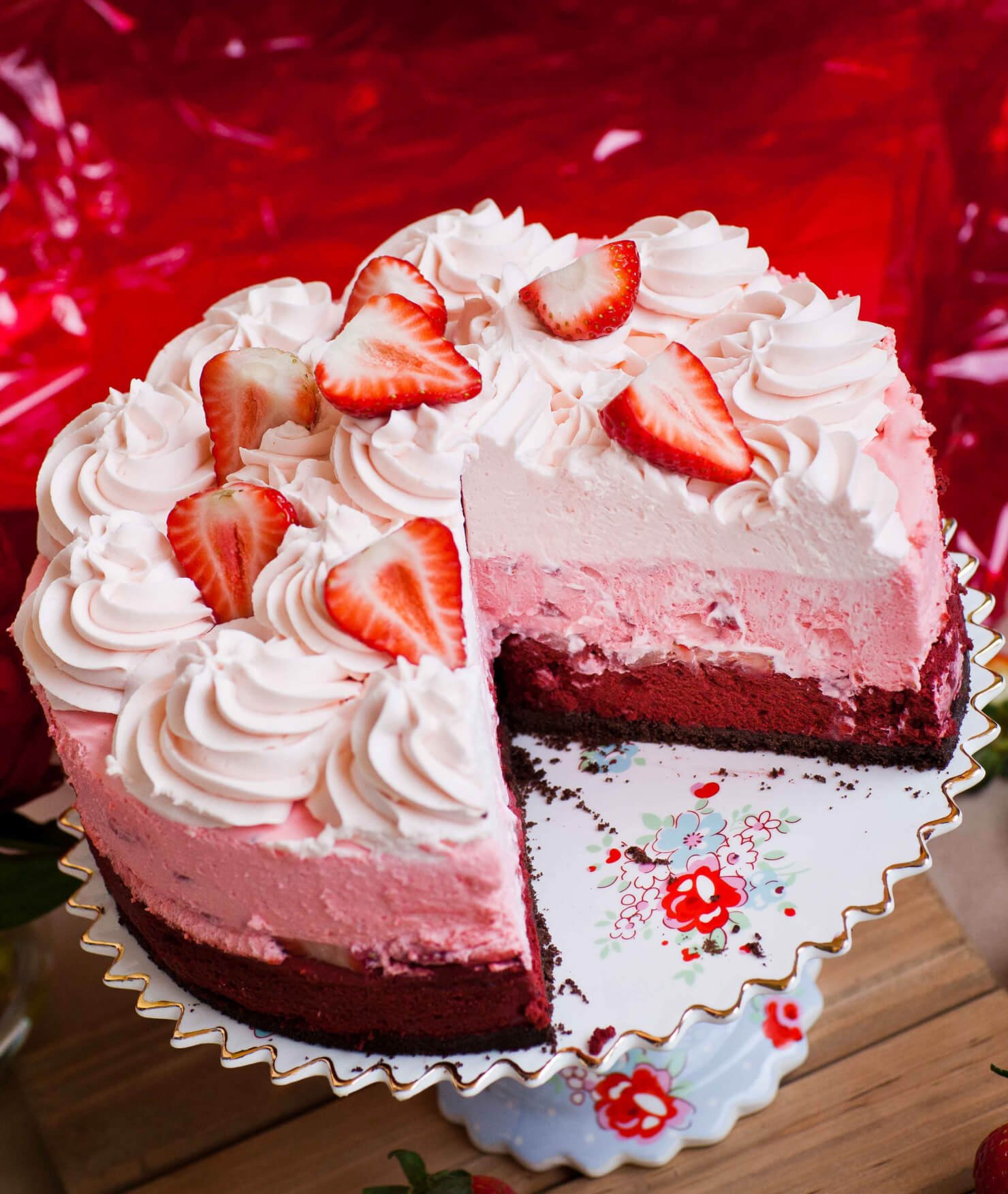 red velvet strawberry cheesecake