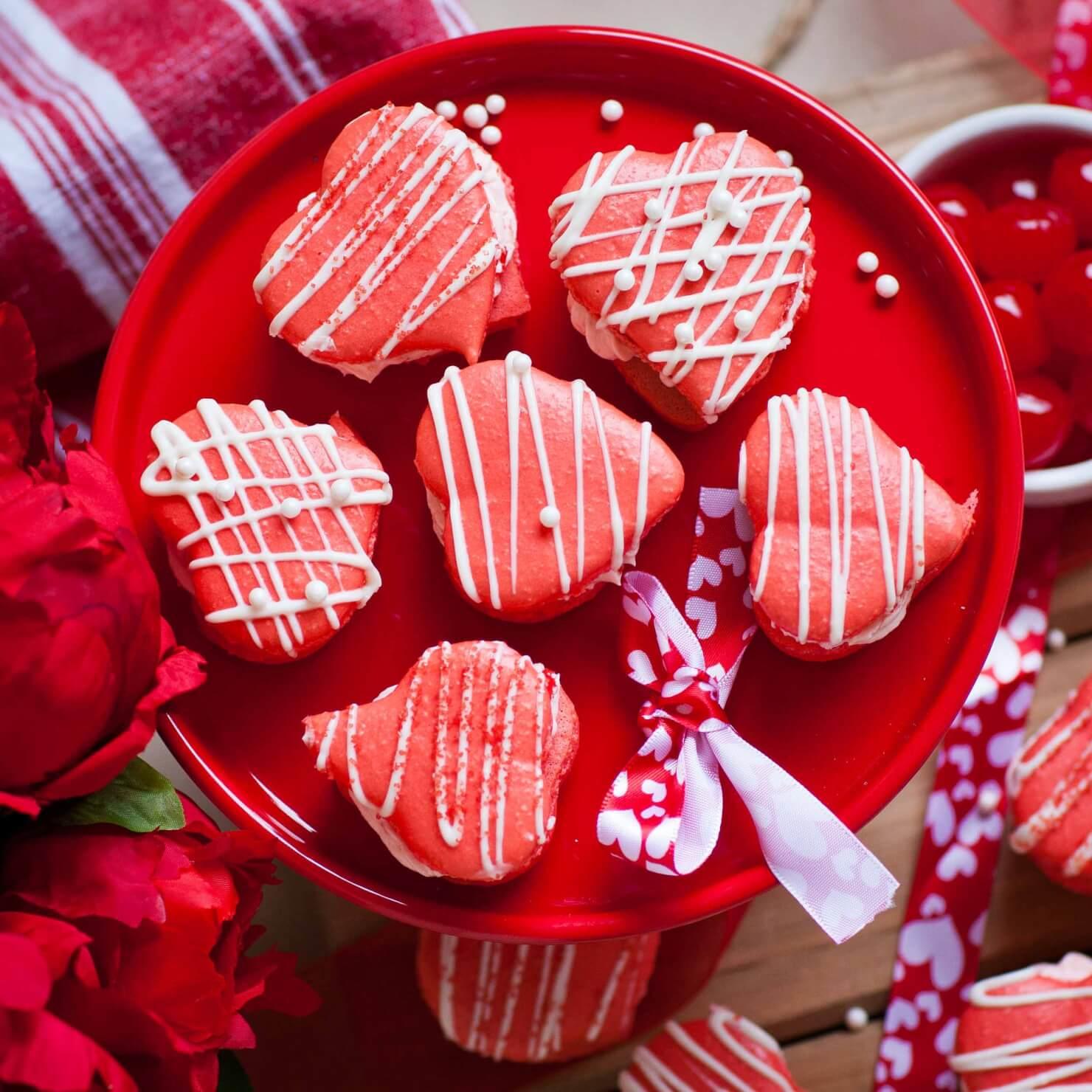 Maraschino Heart Macarons