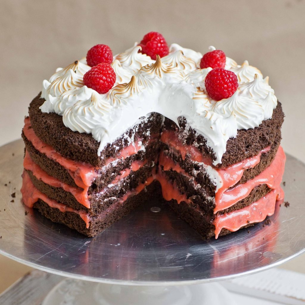 sliced chocolate raspberry cake with torched meringue and raspberries