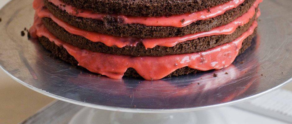 Chocolate Raspberry Lemon Curd Cake with Meringue