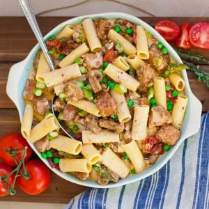 pork pasta with peas
