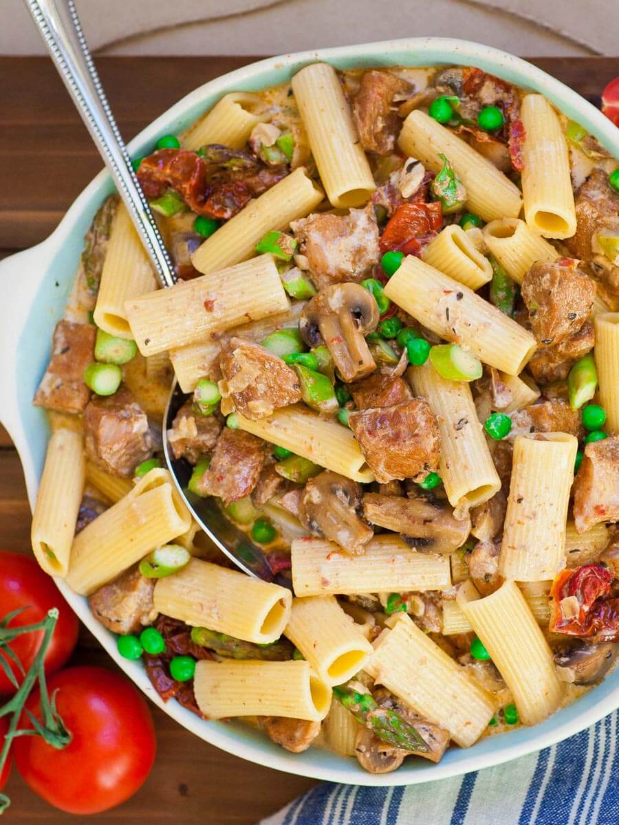 creamy pork pasta with asparagus and peas; slow-cooker recipe