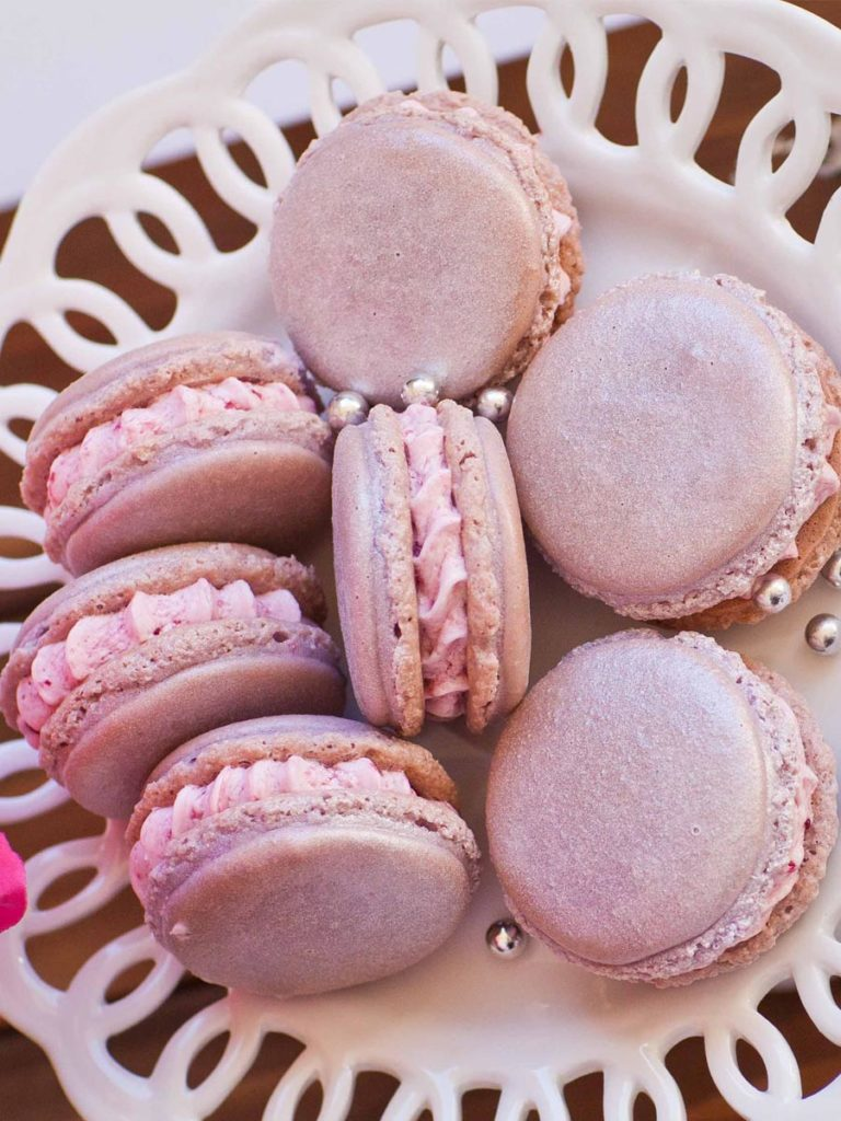 wine macarons - grape macarons with grape jelly buttercream and sparkling wine extract