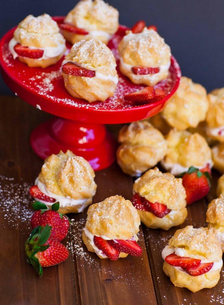 strawberry profiteroles with strawberry cream filling