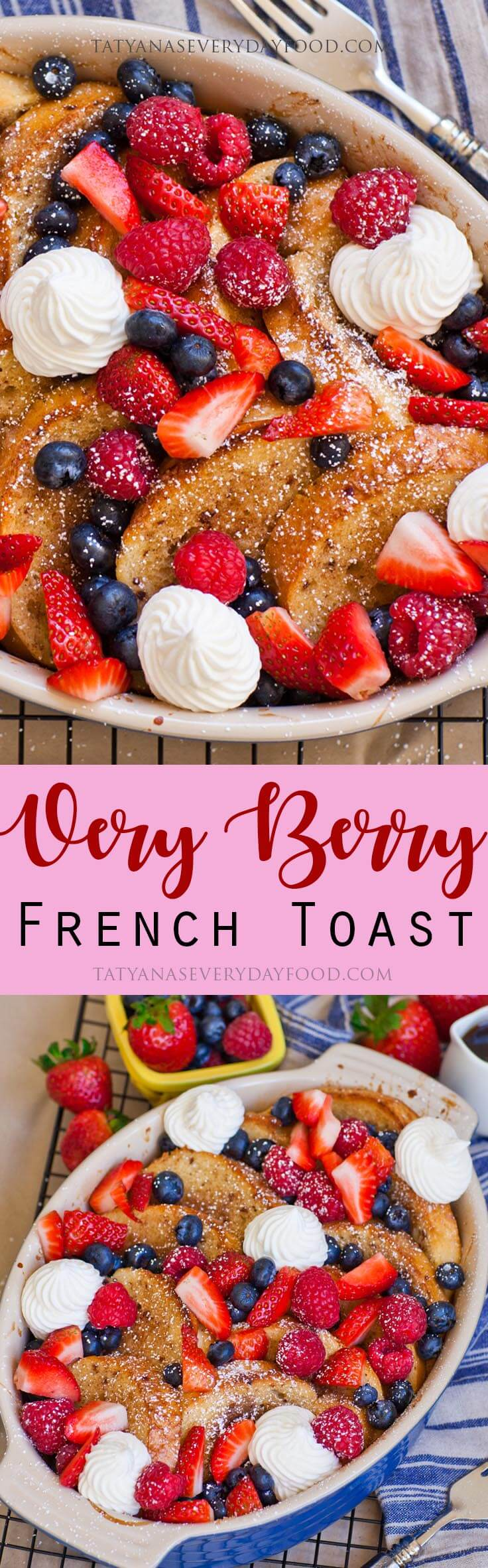 Baked French Toast with berries and maple whipped cream