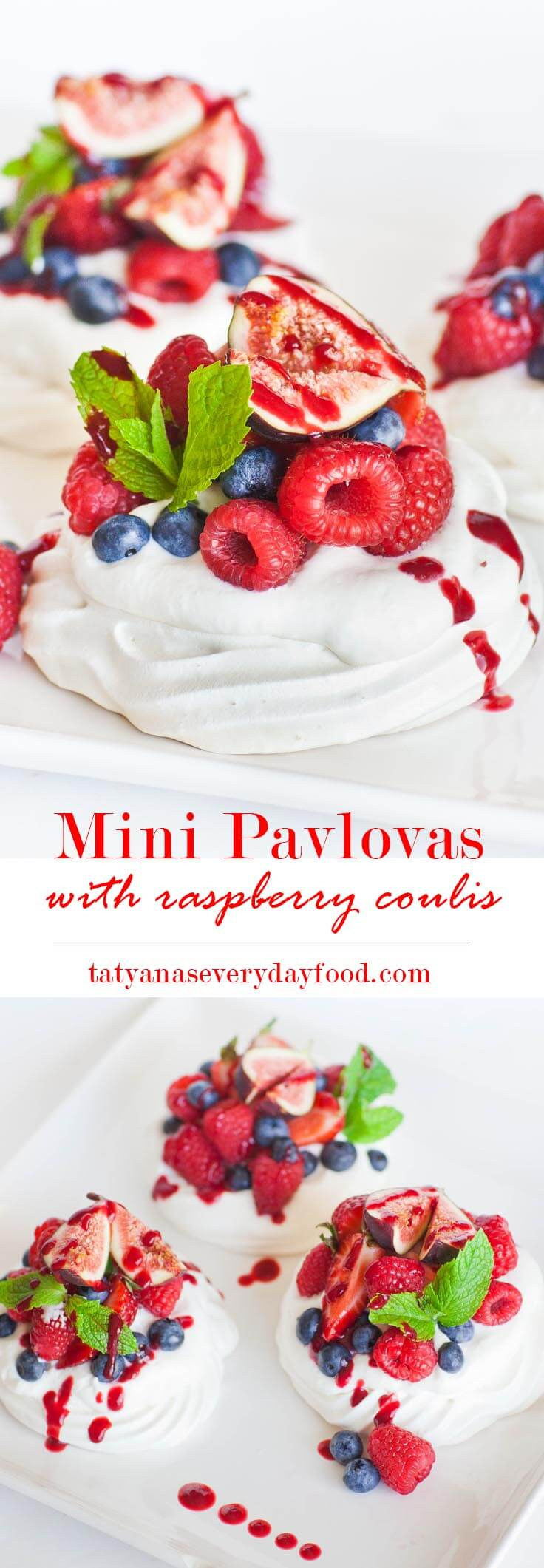 Mini Fruit Pavlova with Raspberry Sauce