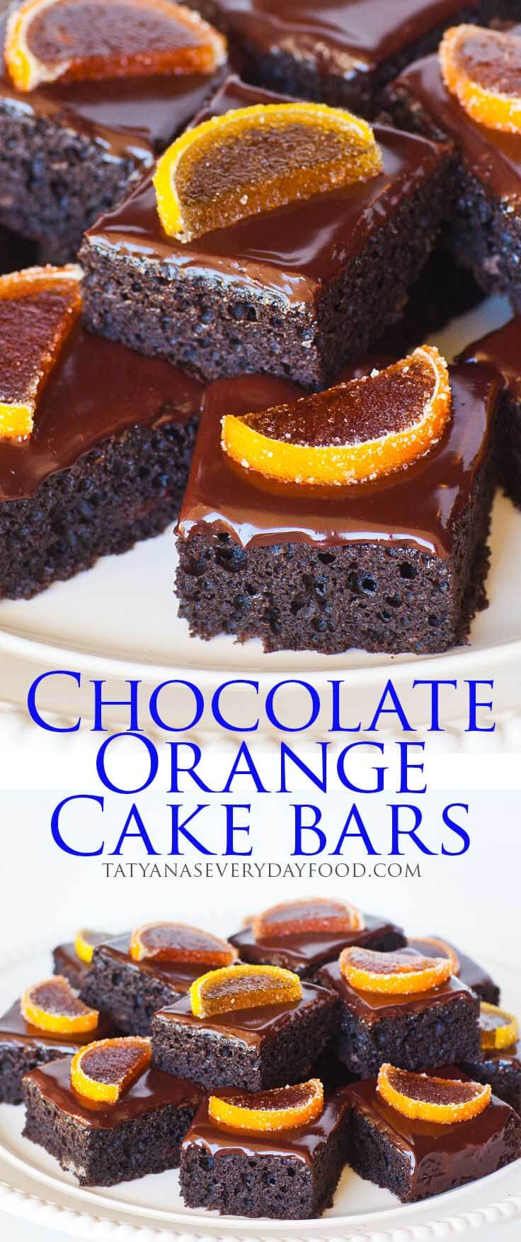Chocolate Orange Cake Bars Recipe