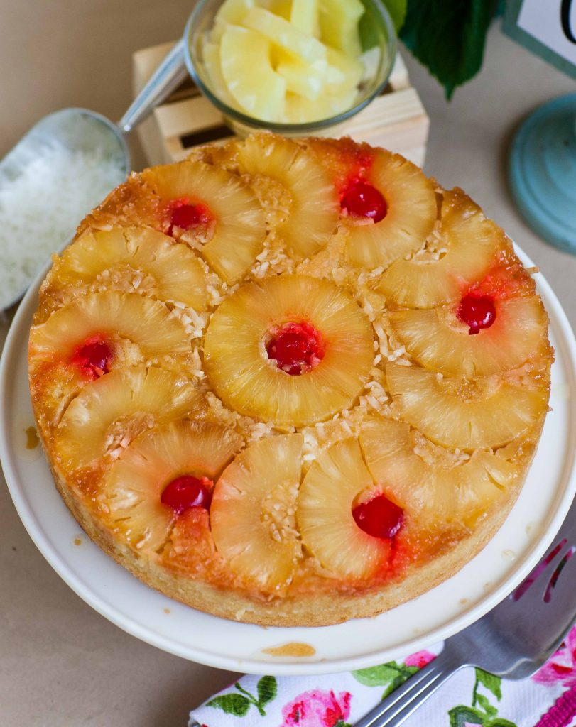 coconut pineapple upside down cake with cherries