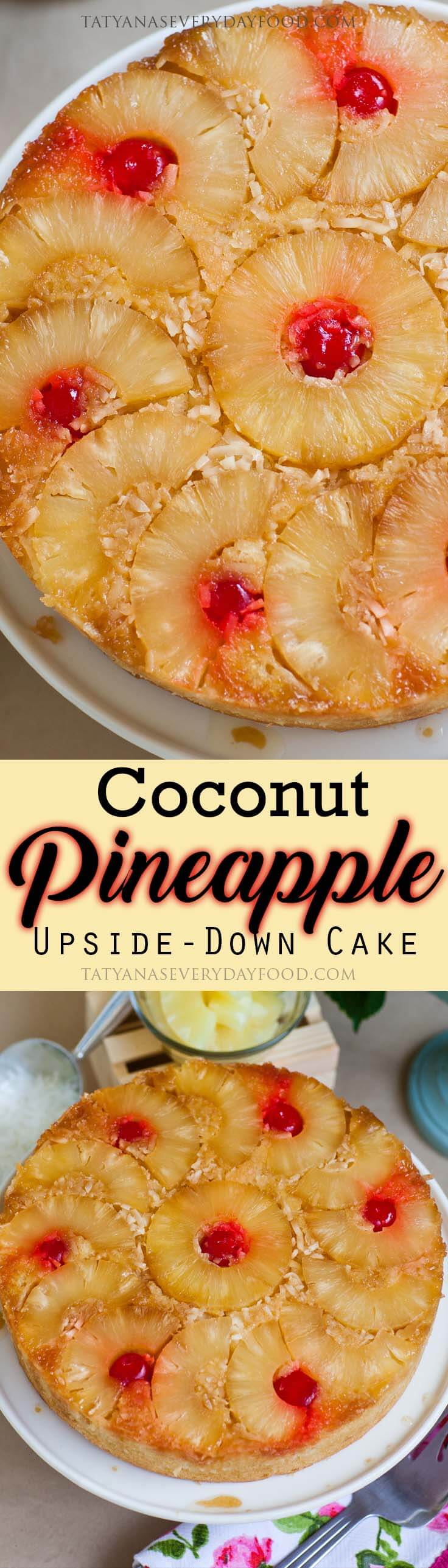 Coconut Pineapple Upside-Down Cake recipe with video