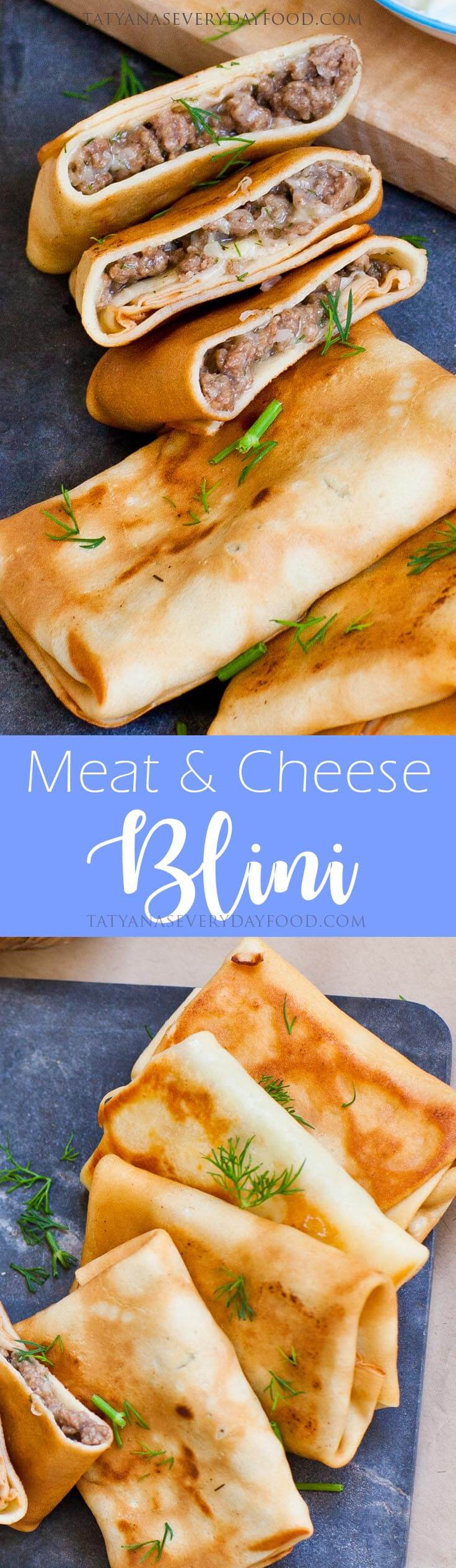 Meat and Cheese Filled Blini - Ukrainian Recipe