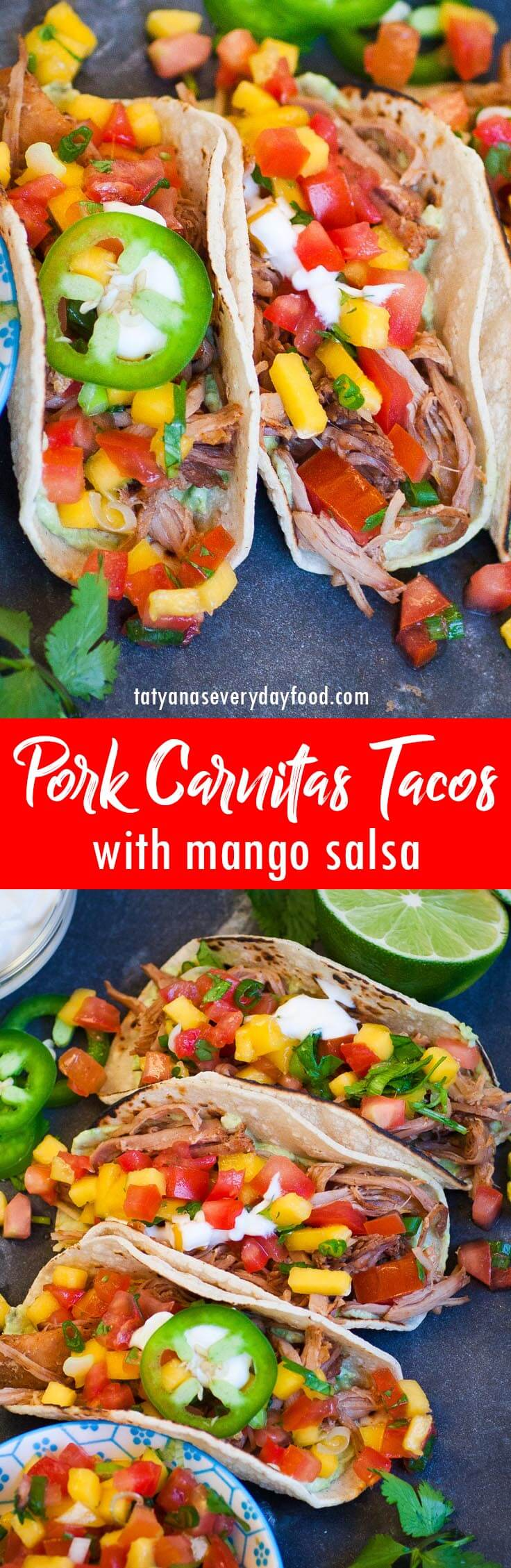 Pork Carnitas Tacos with Mango Salsa recipe