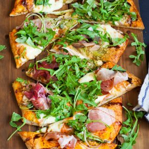 home made pizza with prosciutto