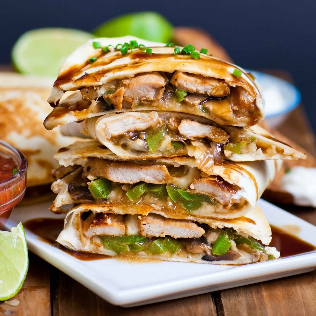 juicy pork and pepper steakhouse quesadillas with steak sauce