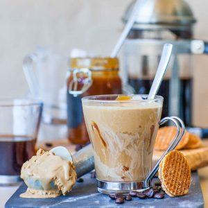 coffee caramel ice cream dessert