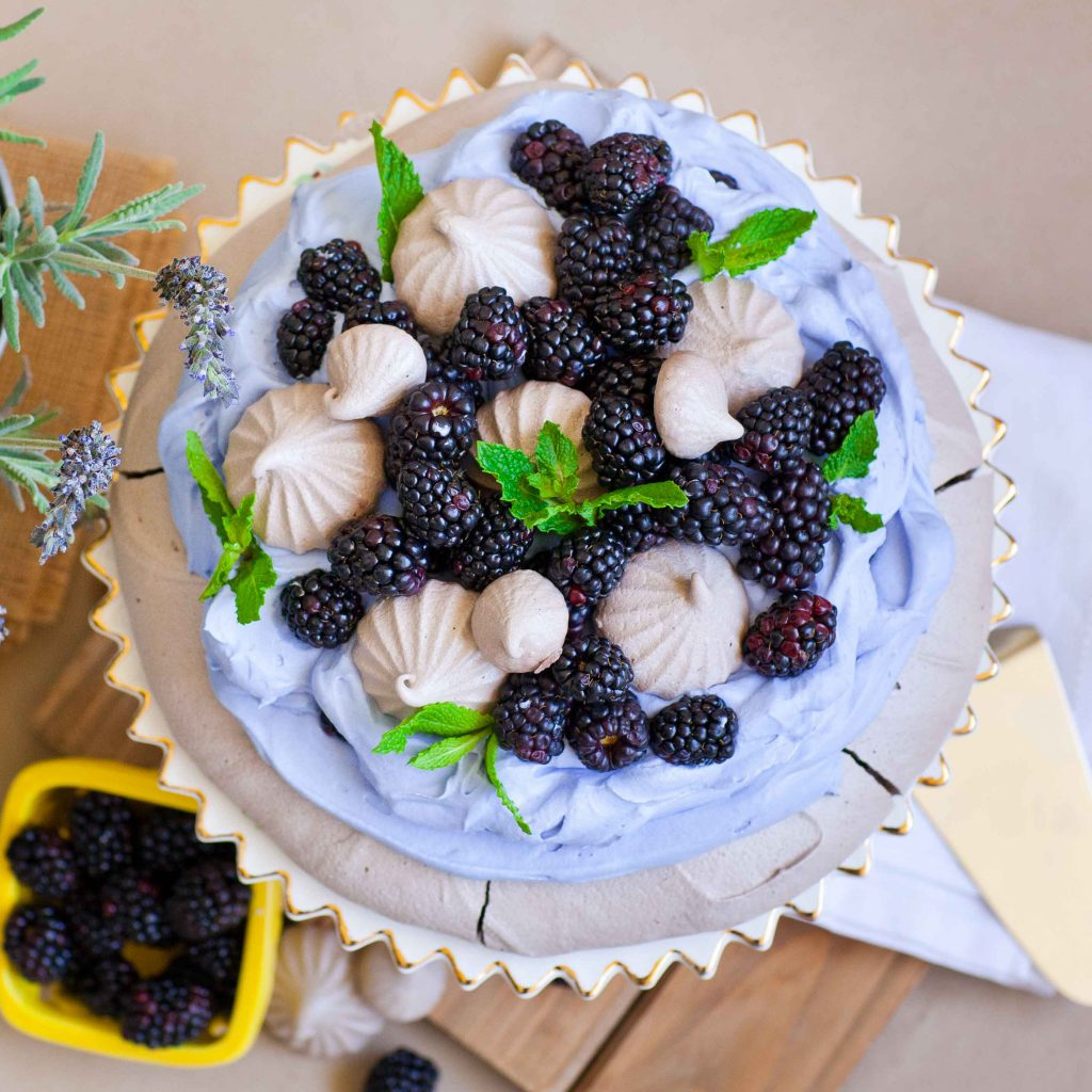 Blackberry Chocolate Pavlova with Lavender Cream (video)