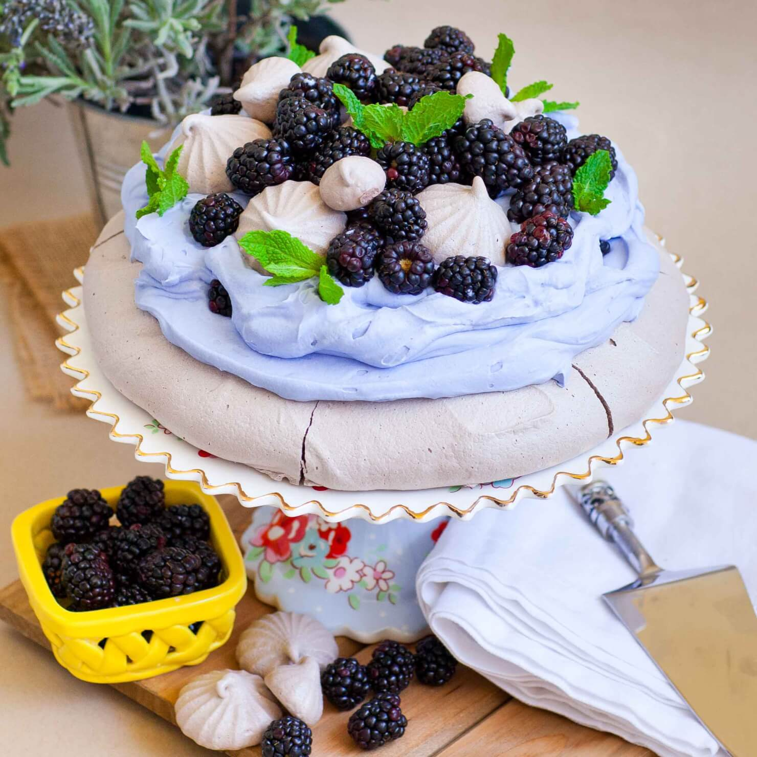 Lavender Blackberry Chocolate Pavlova