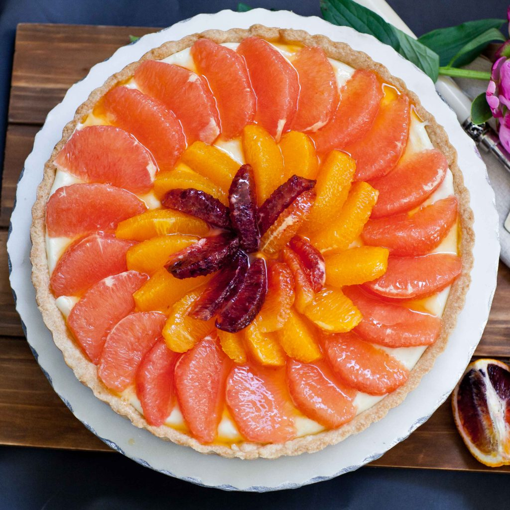 grapefruit tart with vanilla pastry cream