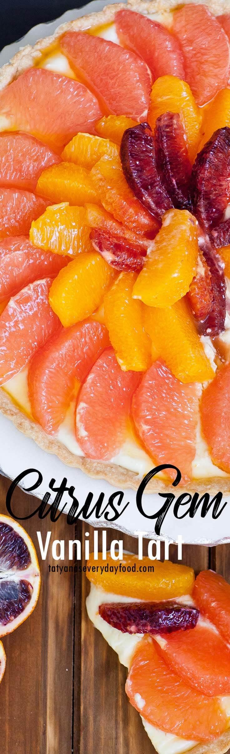 Vanilla Citrus Tart with citrus gems with video recipe
