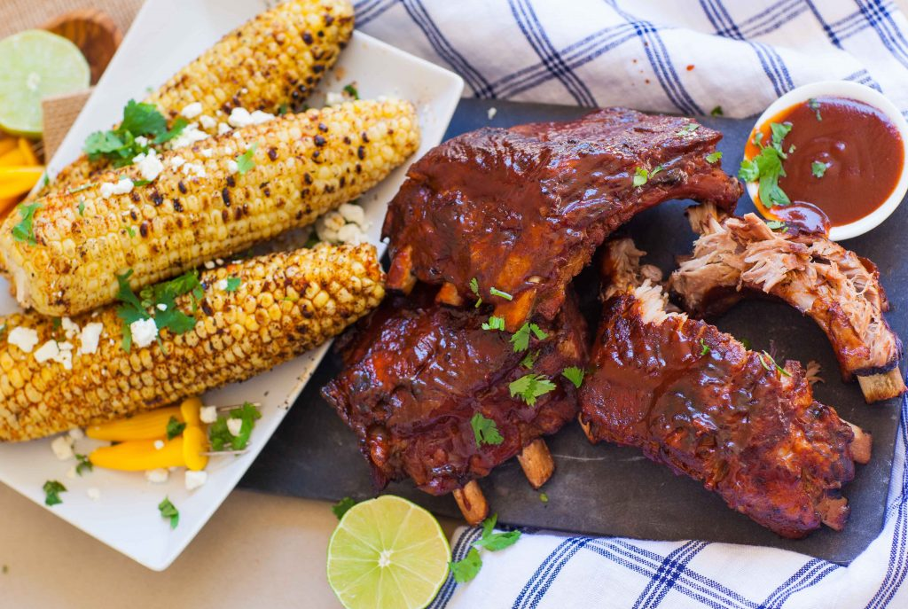 barbecue pork ribs with grilled corn