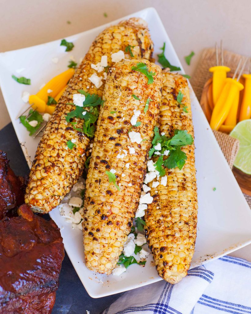 grilled Mexican corn recipe with seasonings