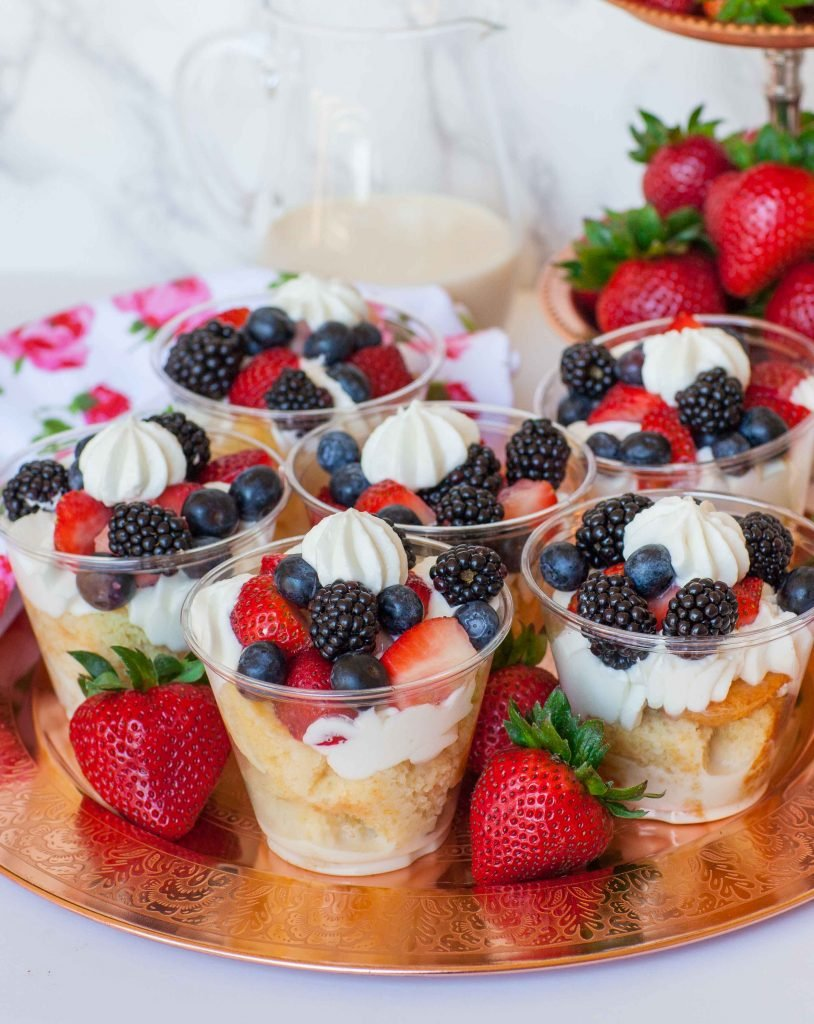 berries & cream tres leches cake parfait for party