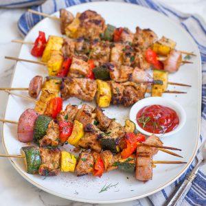 chicken kabobs on serving platter