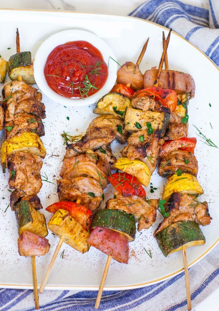 grilled chicken and vegetable kabobs recipe with dipping sauce
