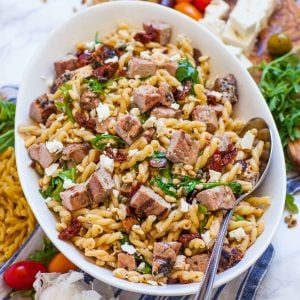 pasta salad with grilled pork and cheese