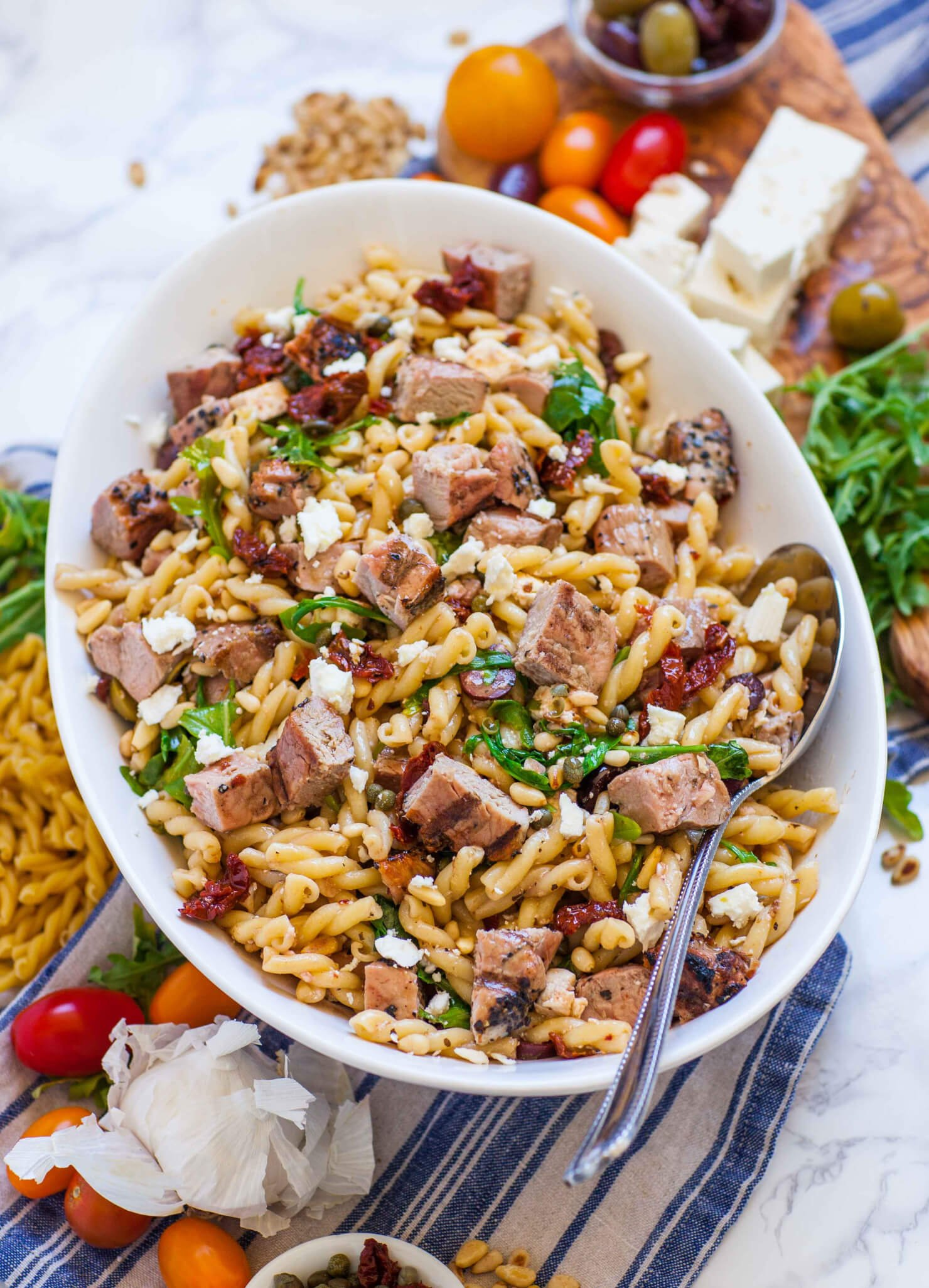 pasta salad with pork and cheese