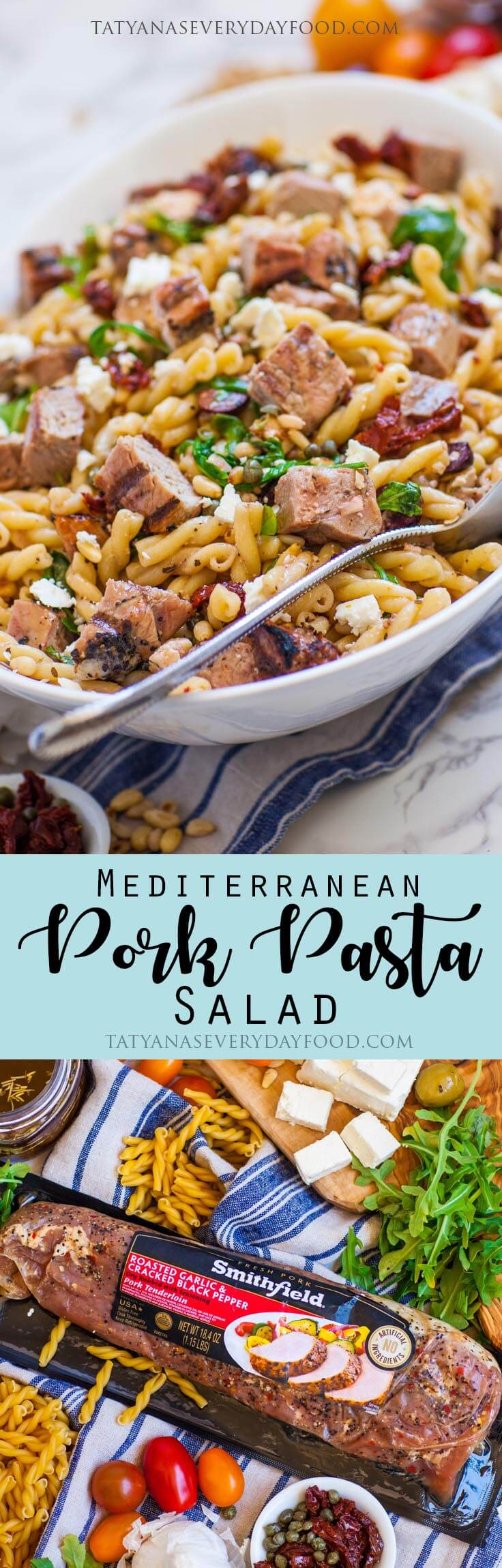 Mediterranean Pasta Salad with grilled pork