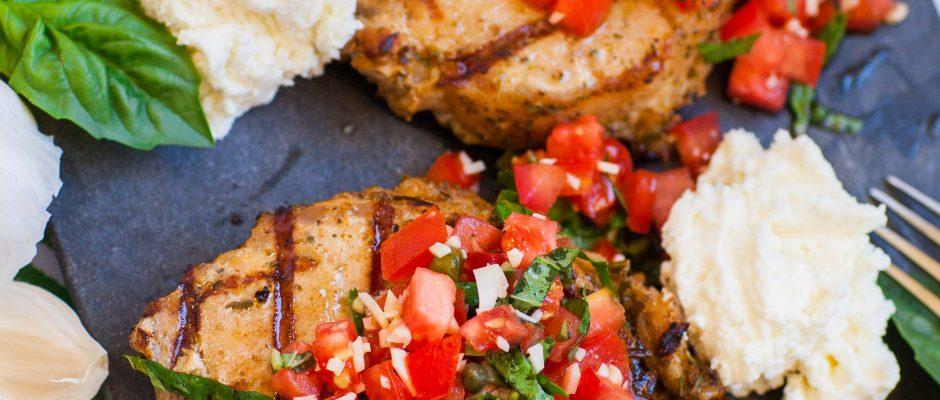 Garlic & Herb Bruschetta Pork Chops
