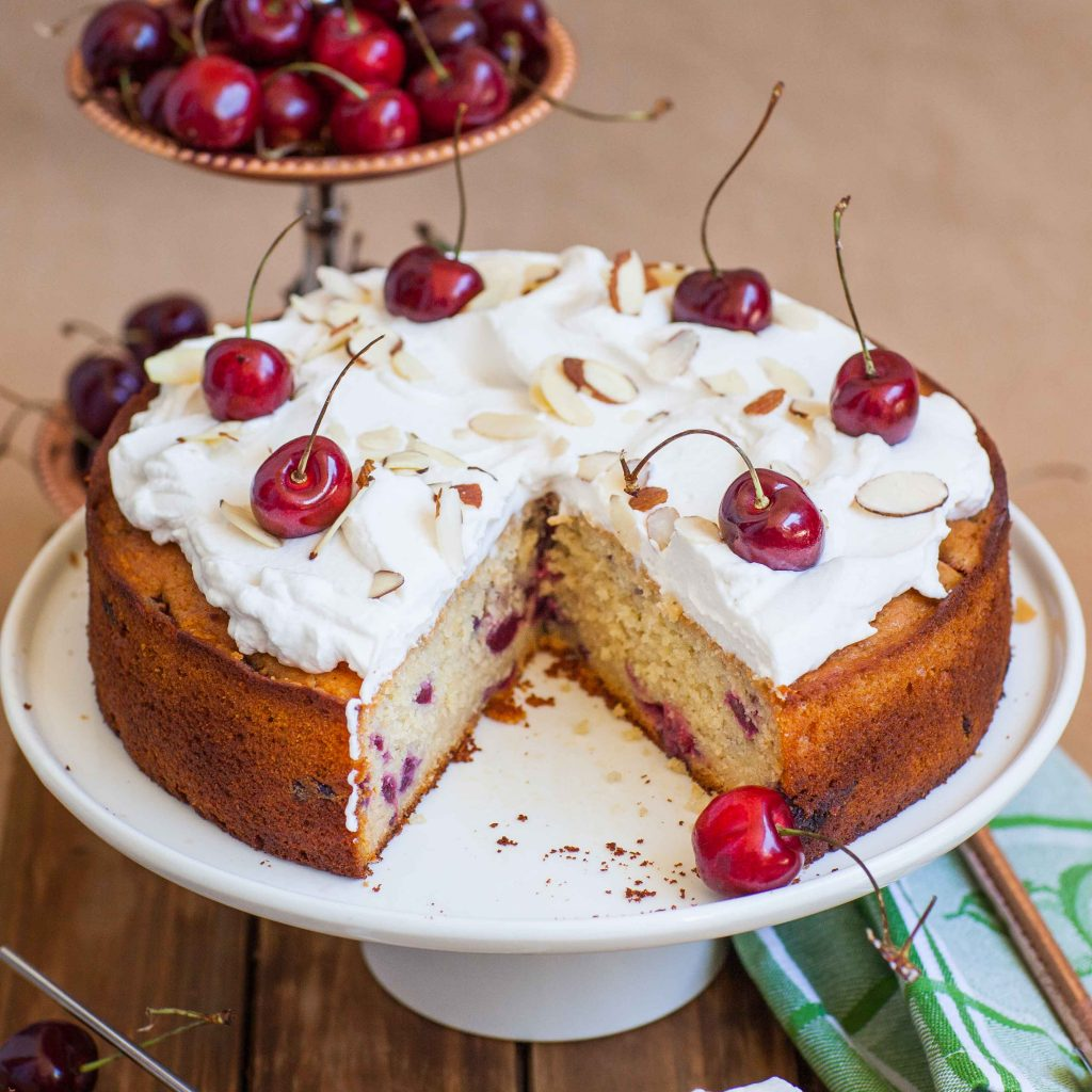 cherry cake recipe with fresh cherries and whipped cream