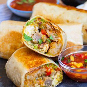 inside stuffed breakfast burrito
