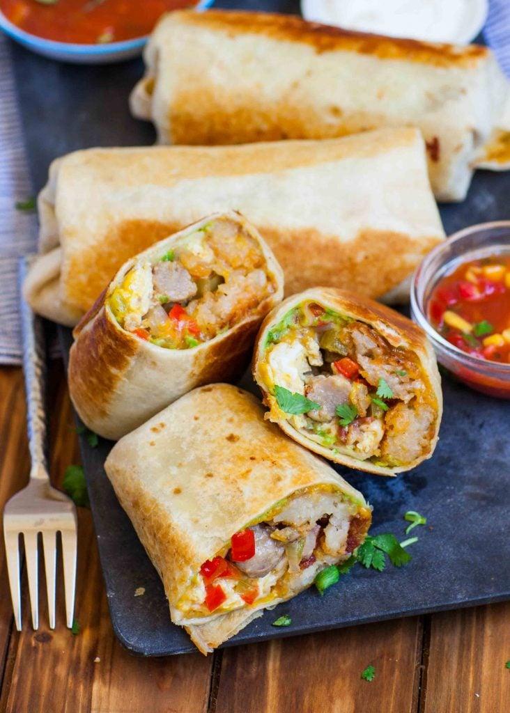 stuffed breakfast burrito recipe with sausage