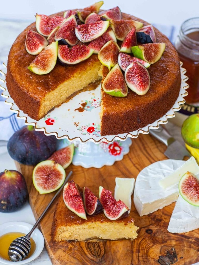serving suggestion for easy fig and honey cake with brie cheese