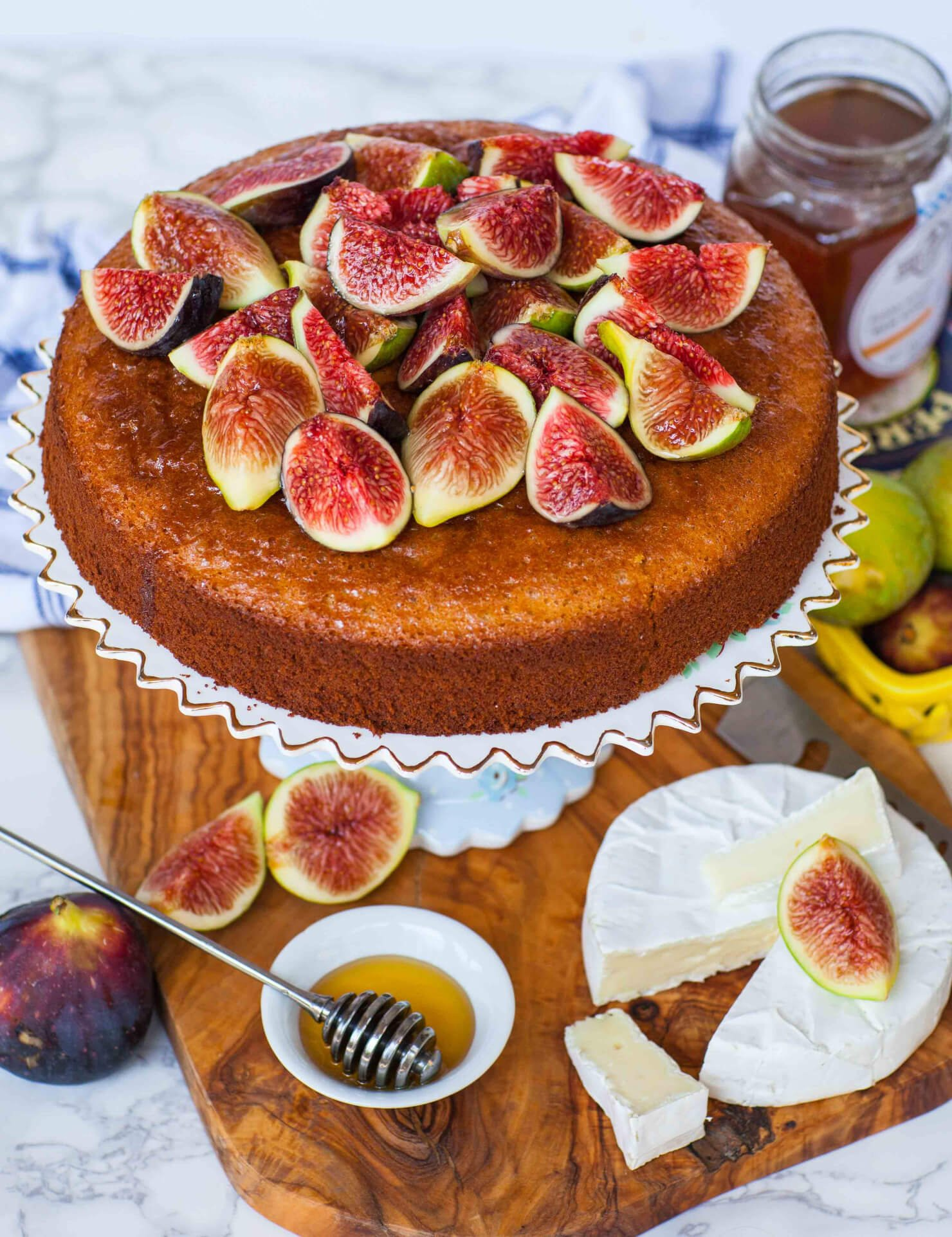 honey cake topped with figs