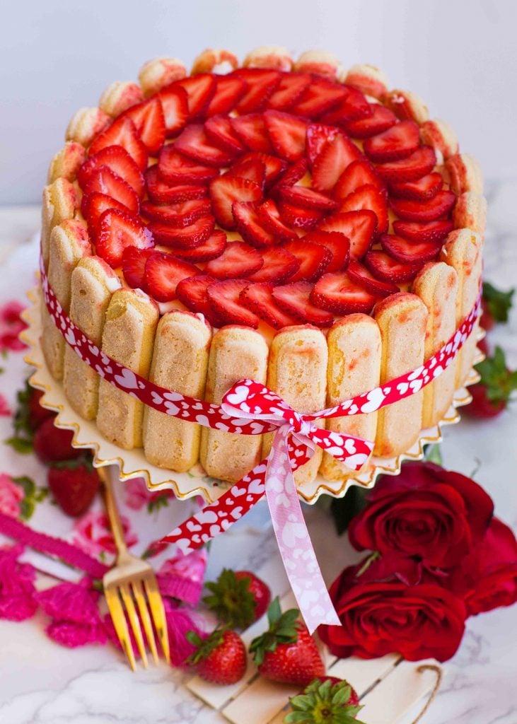 tiramisu cake with sliced strawberries
