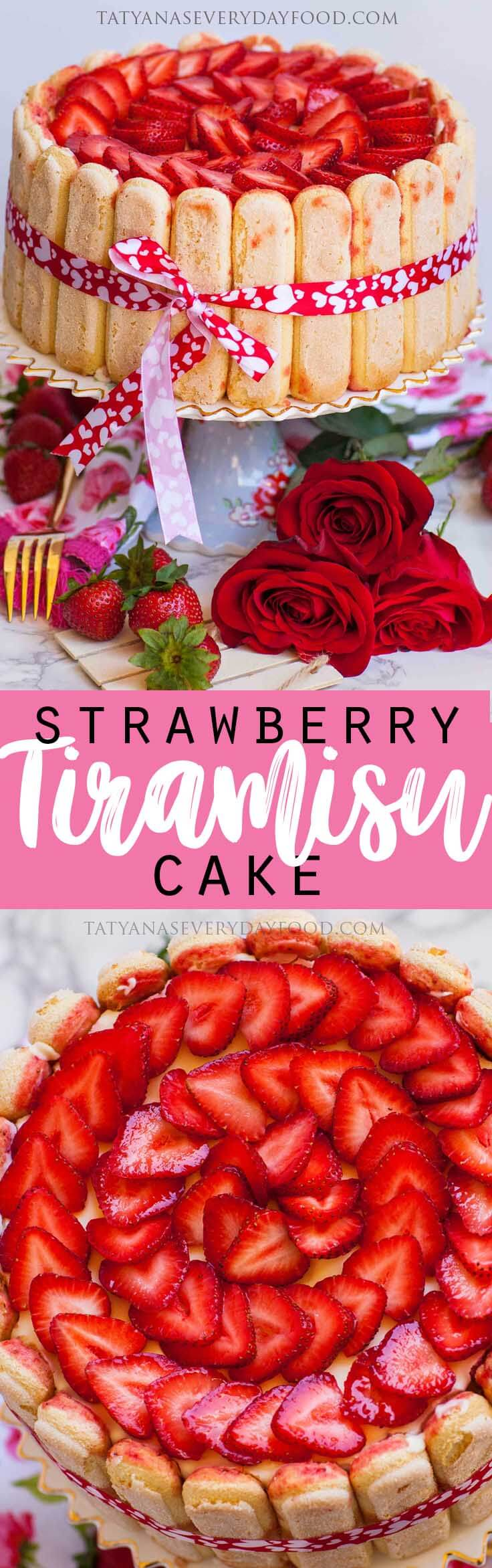 No Bake Strawberry Tiramisu Cake recipe with video