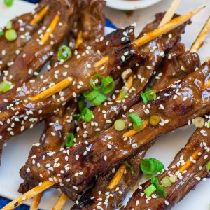 teriyaki beef skewers with sesame seeds