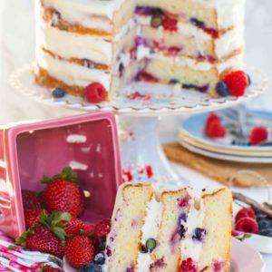 sliced lemon berry mascarpone cake