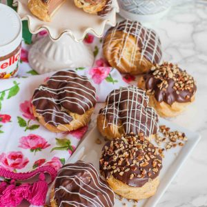 chocolate cream puffs with nutella