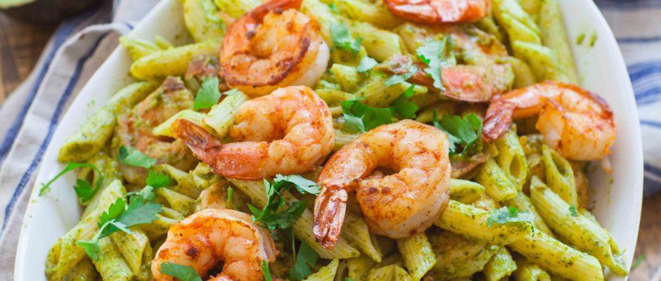 Avocado Chimichurri Shrimp Pasta