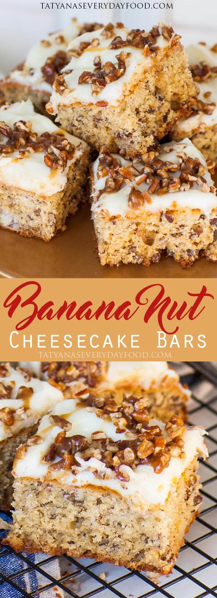 Easy Banana Nut Bars with cream cheese frosting