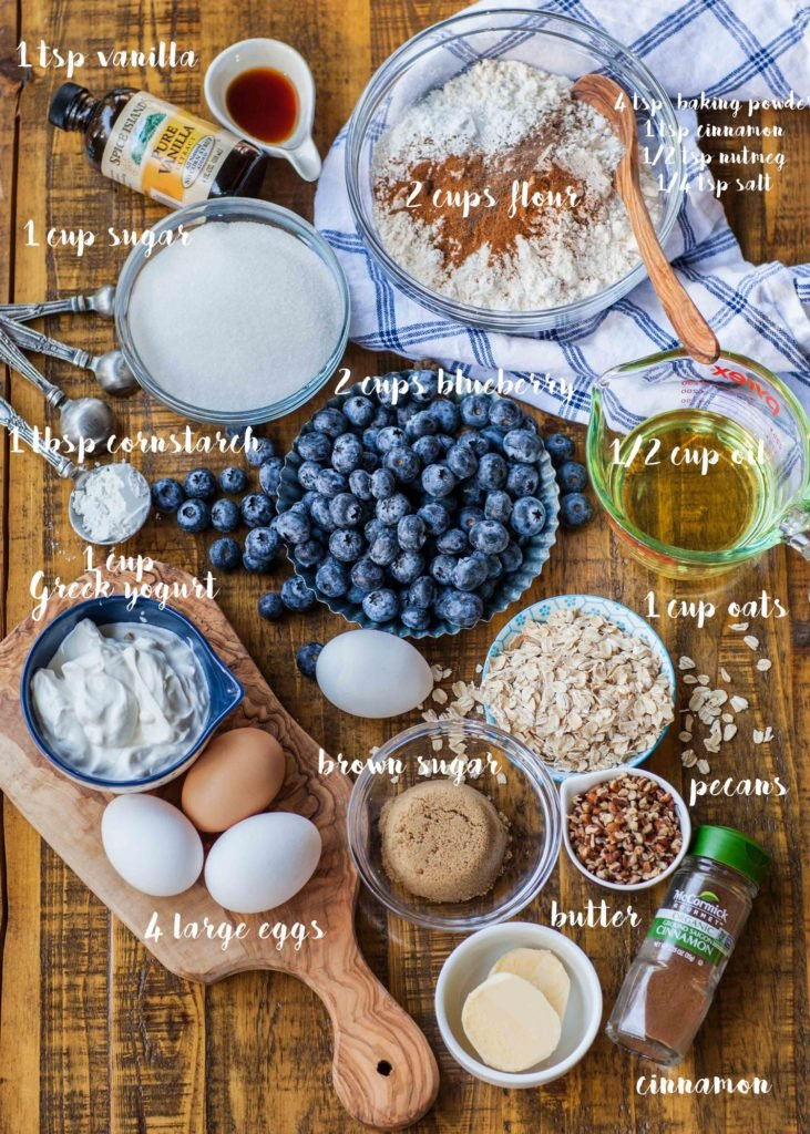 ingredients for blueberry cake with crumble topping