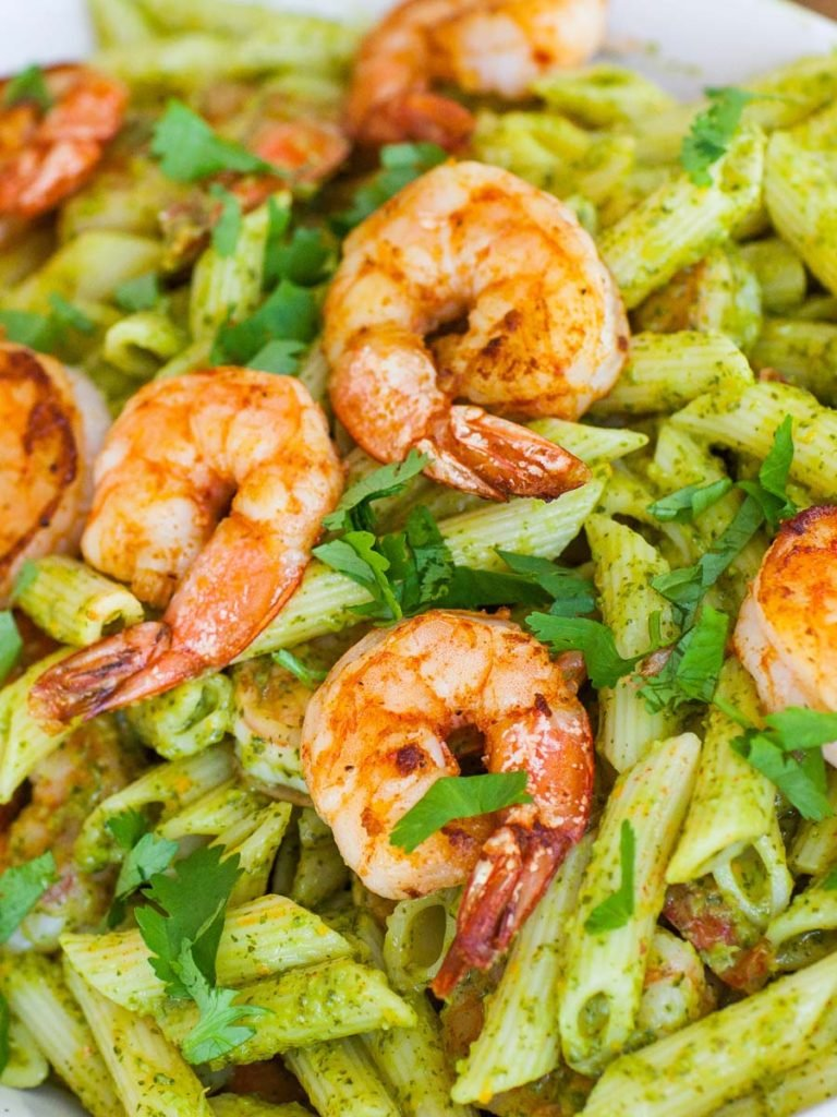 jumbo shrimp with chimichurri pasta
