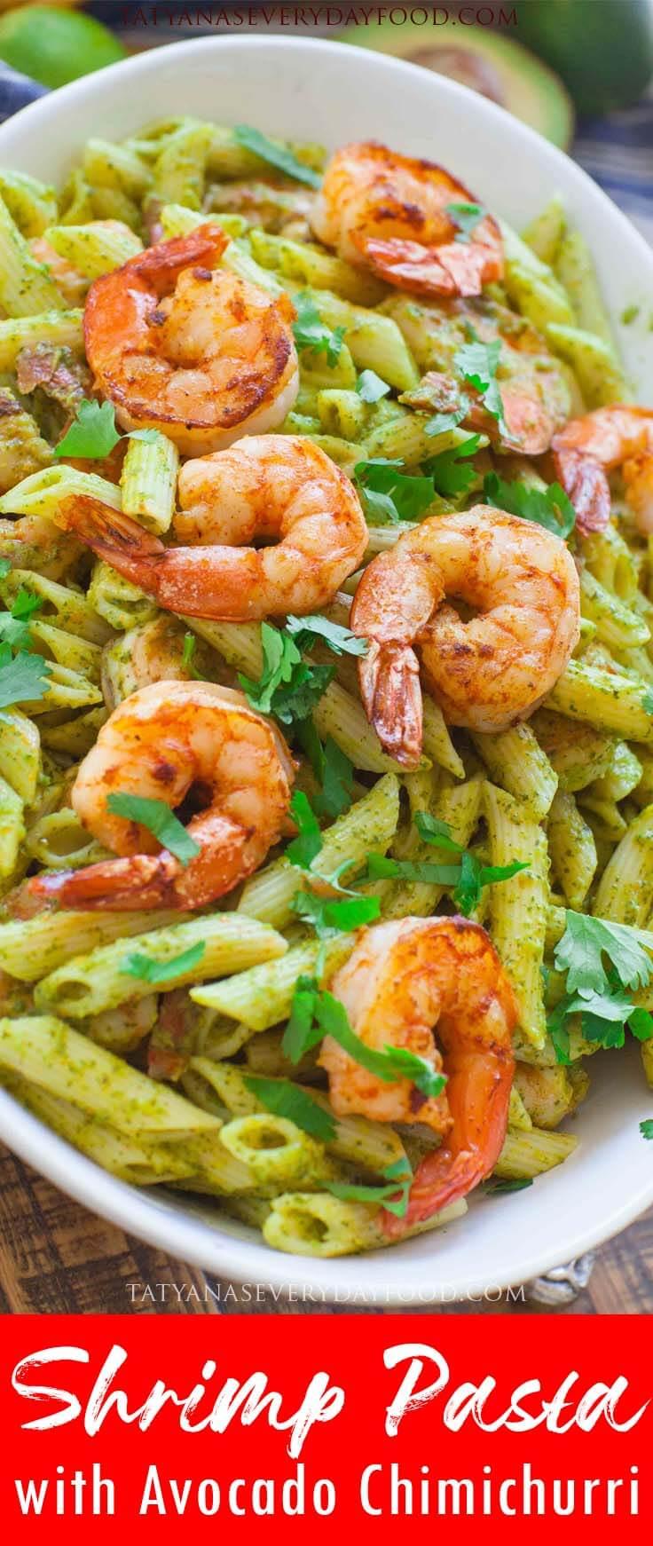 Easy Chimichurri Shrimp Pasta video recipe
