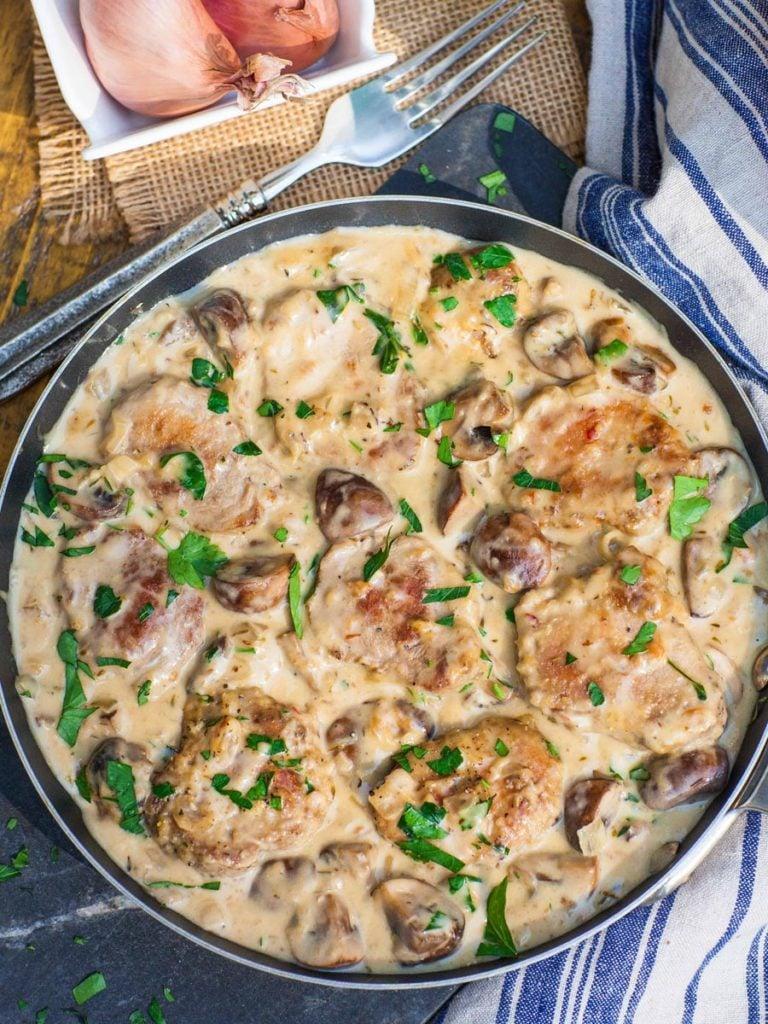 pork tenderloin in creamy marsala sauce with mushrooms