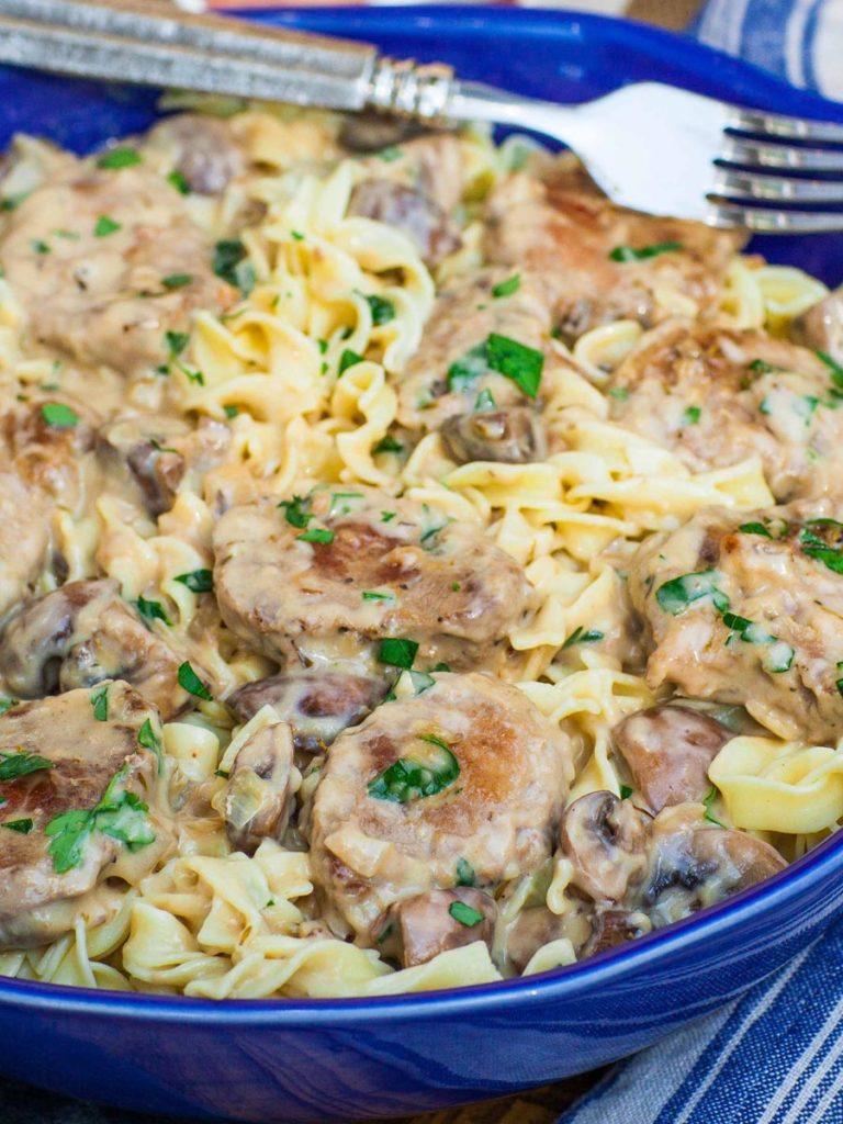 Creamy Pork Marsala Noodles recipe